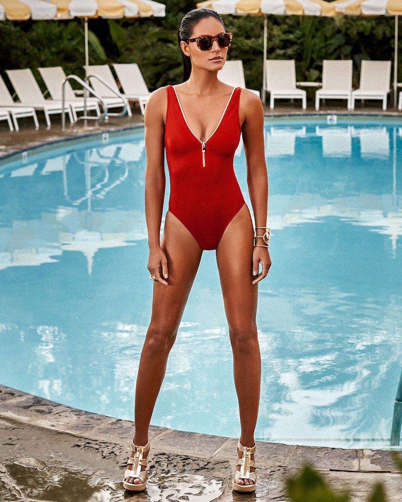 OYE Swimwear Lea Plunge Zip-Neck One-Piece Swimsuit