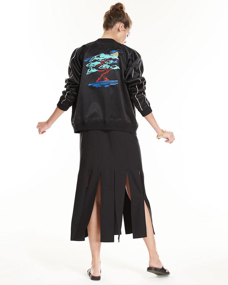 Opening Ceremony Bonsai-Embroidered Silk Reversible Varsity Jacket