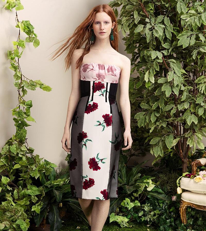 Oscar de la Renta Strapless Silk Floral-Print Dress