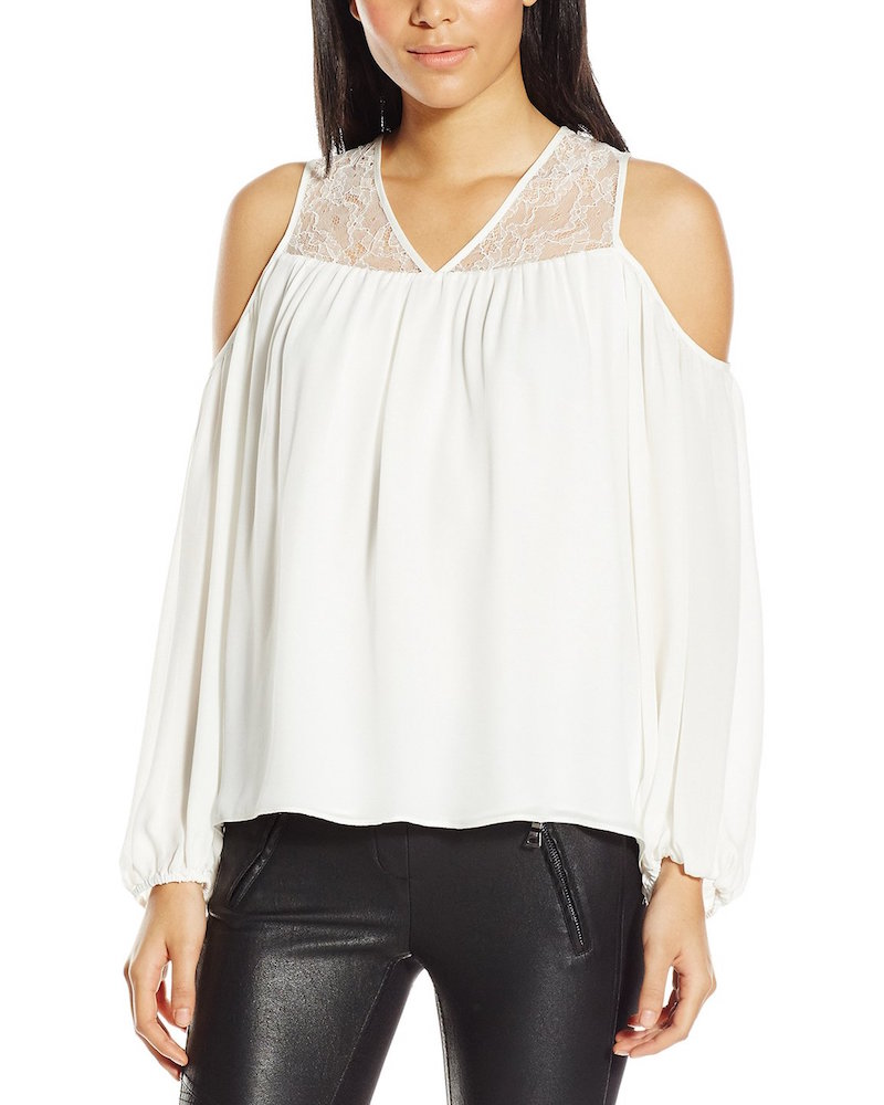 Parker Joanie Lace Combo Cold-Shoulder Blouse