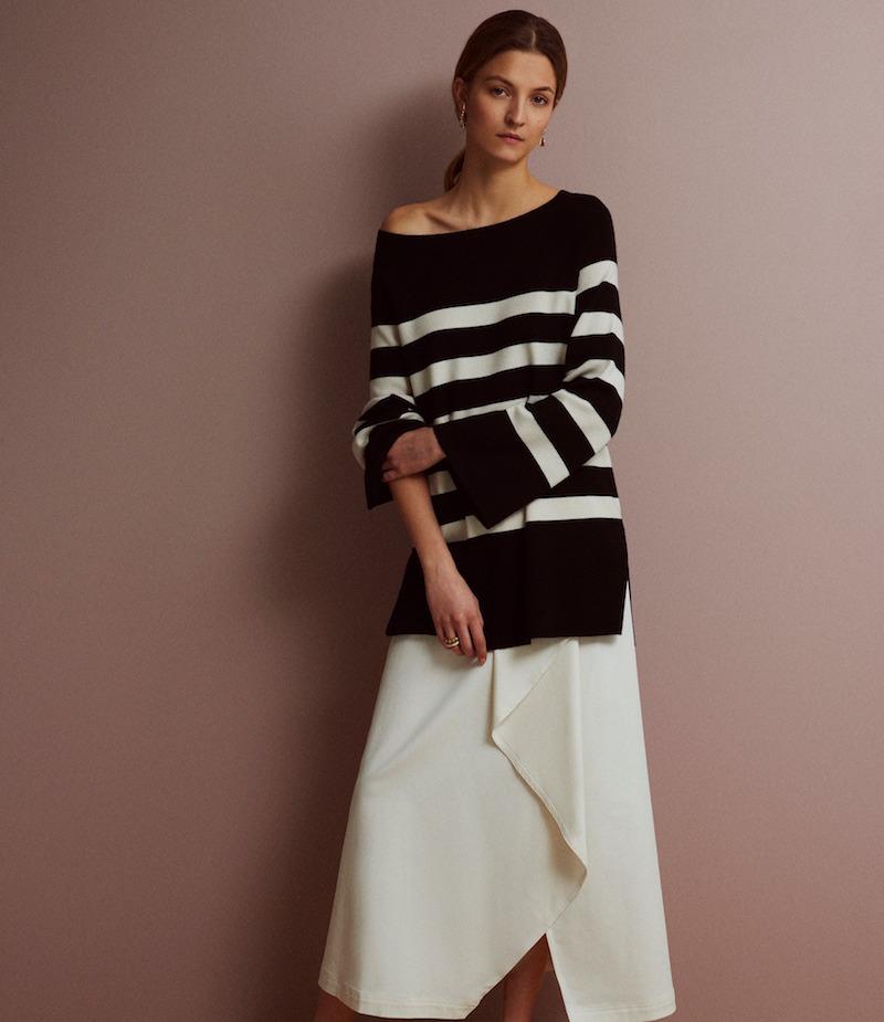 R/R Studio Draped-Front Skirt