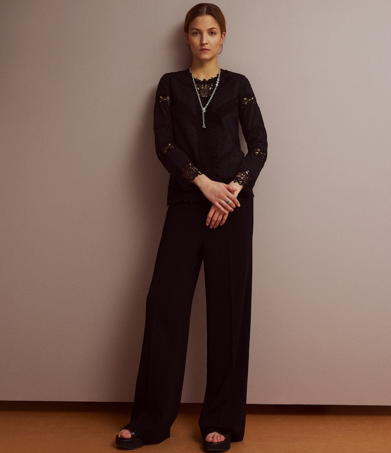 R/R Studio Embroidered-Lace-Inset Blouse