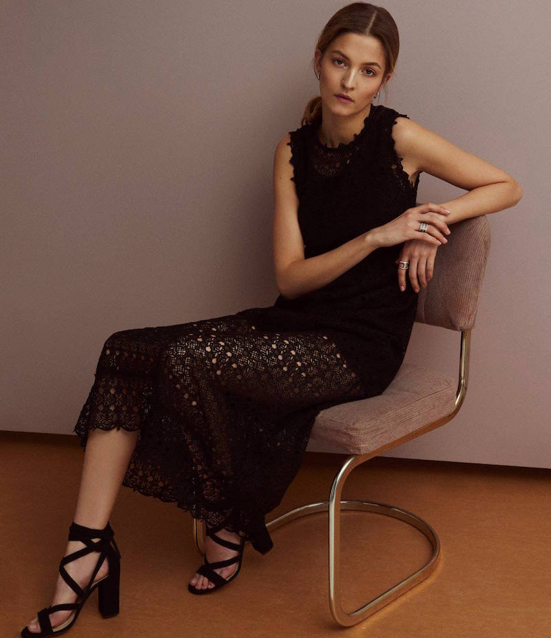 R/R Studio Embroidered-Lace Maxi Dress