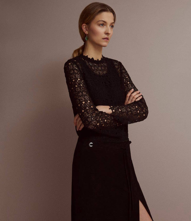R/R Studio Lace Long-Sleeve Blouse