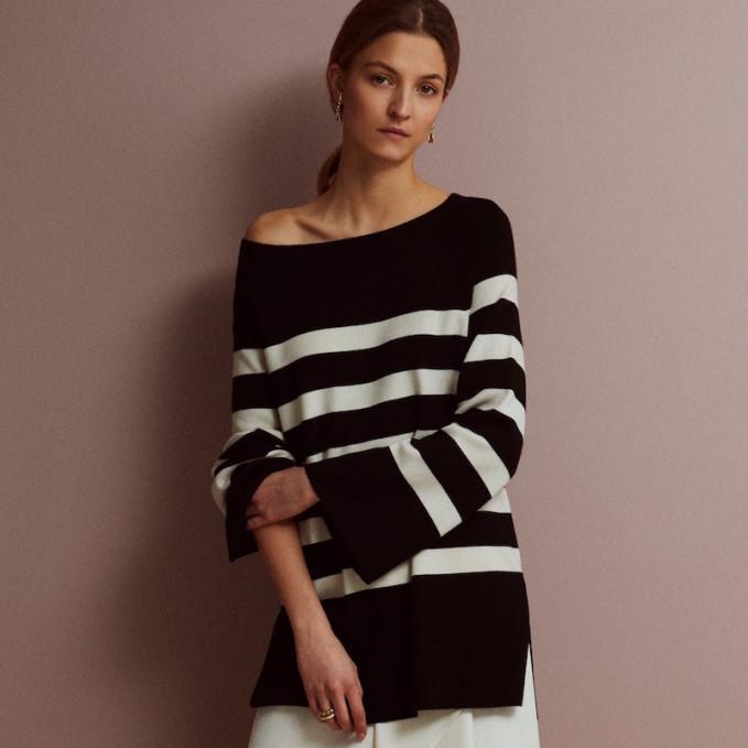 R/R Studio Striped Bateau Neck Sweater