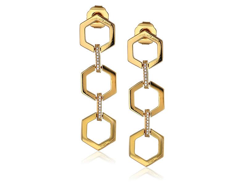 Rachel Zoe Gavriel Gold-Plated Hexagon Linear Drop Earrings