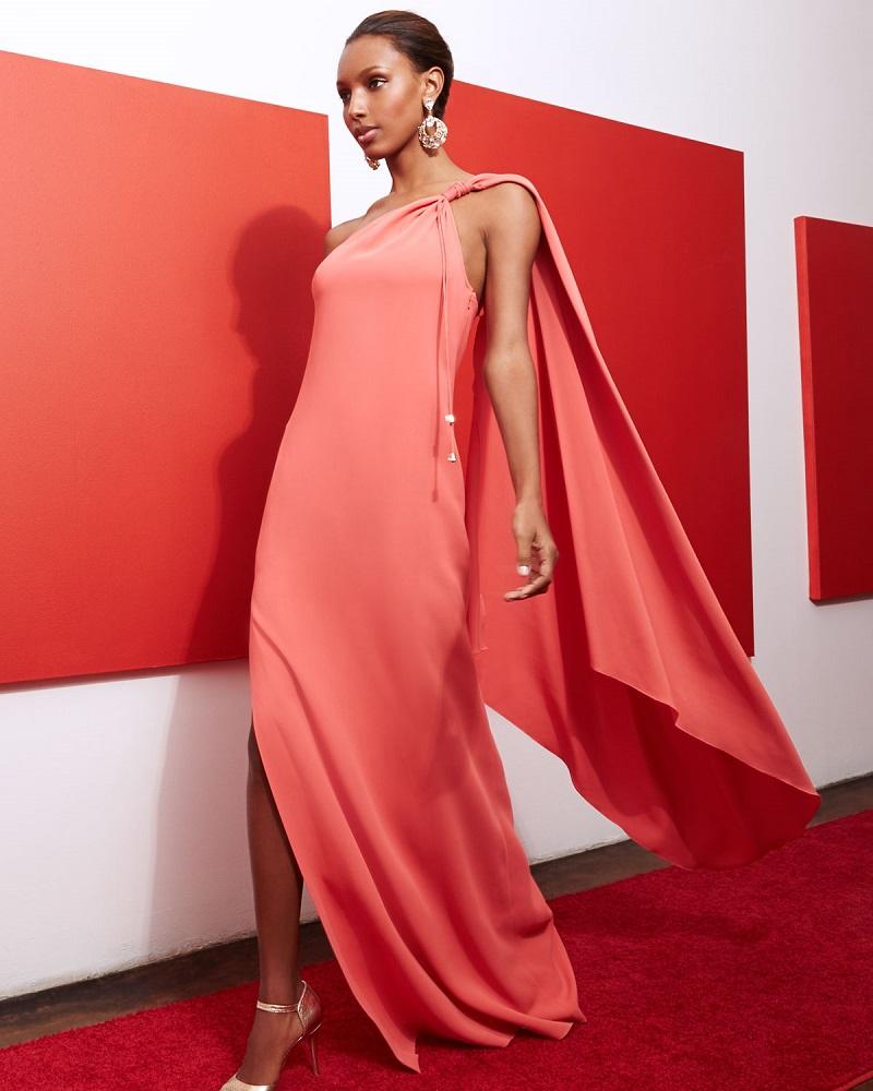 Rachel Zoe One-Shoulder Cape Gown