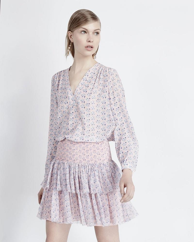 Rebecca Taylor Amanda Floral Silk Long-Sleeve Blouse