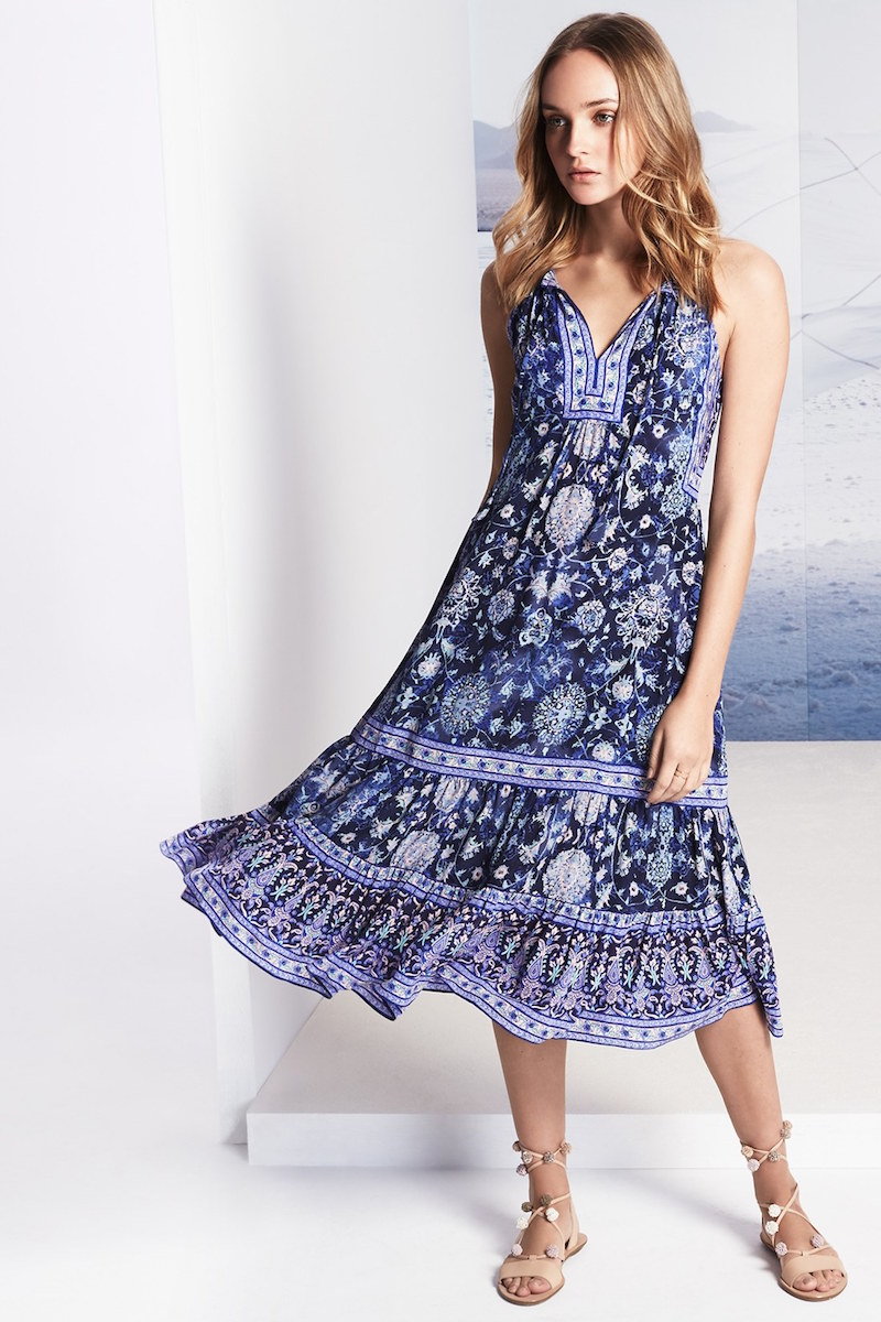 Rebecca Taylor Dreamweaver Print Silk Midi Dress