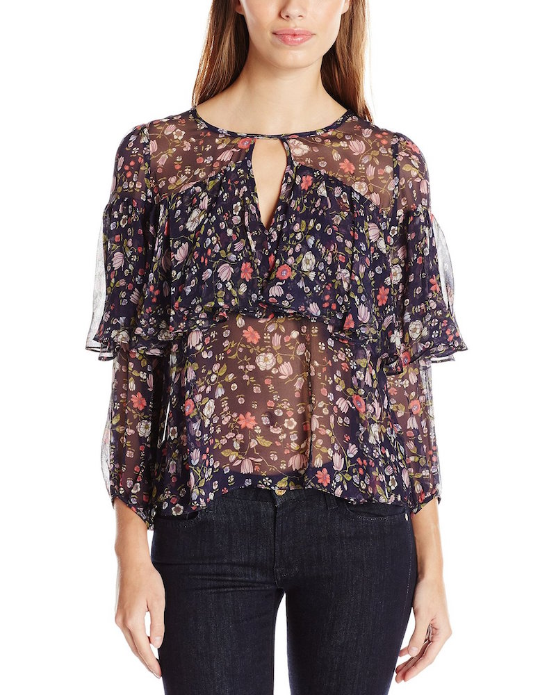 Rebecca Taylor Long Sleeve Tap Garden Chiffon Top