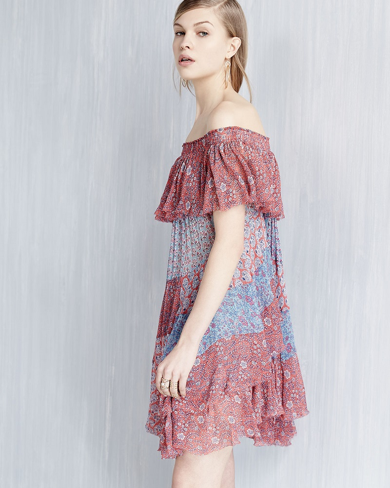 Rebecca Taylor Off-the-Shoulder Patchwork Mini Dress