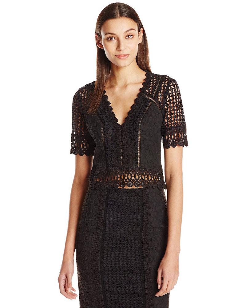 Rebecca Taylor Short Sleeve Lace Crochet Top
