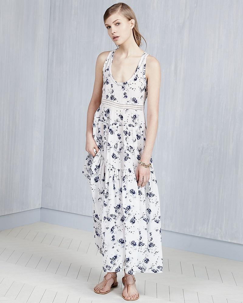 Rebecca Taylor Sleeveless Tiered Meteor-Print Midi Dress