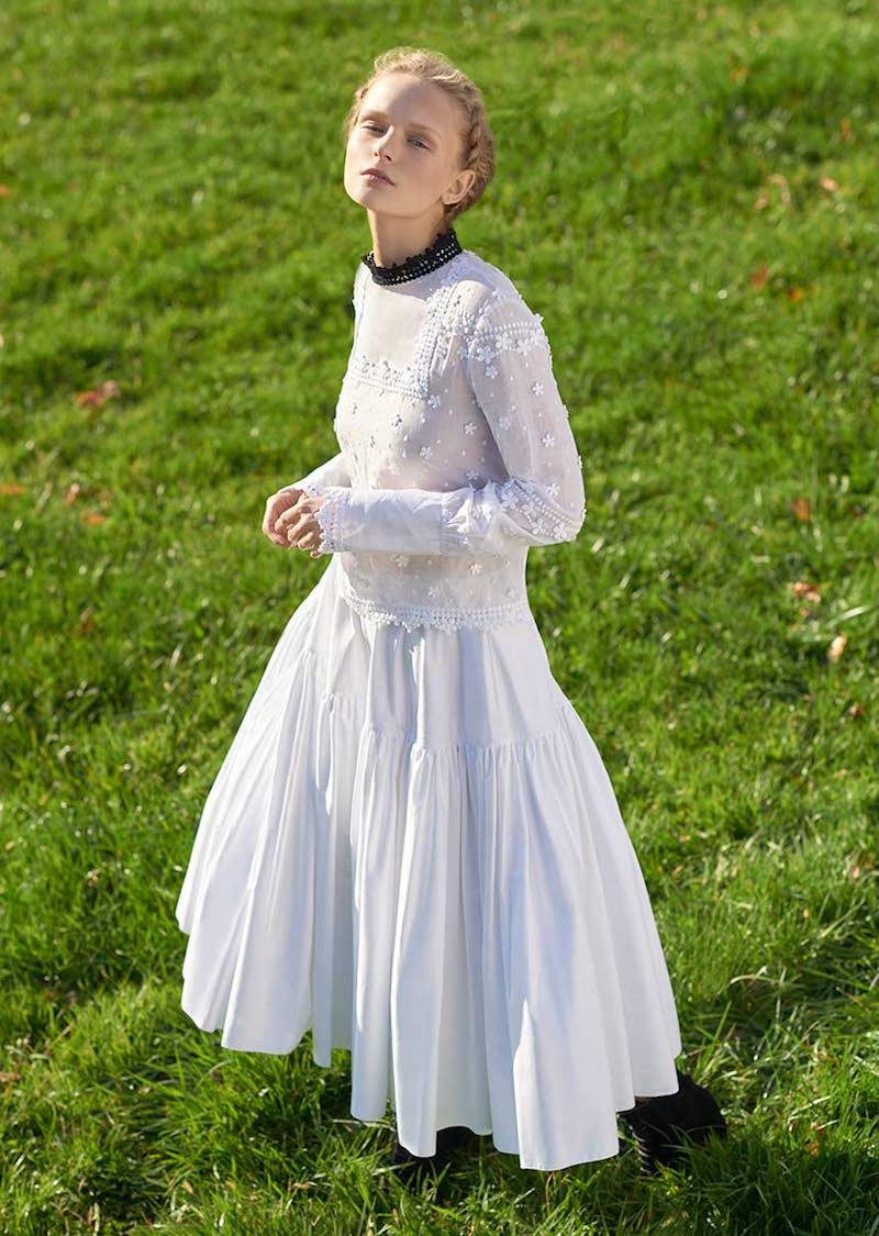 Rochas Cotton Blend A-Line Skirt