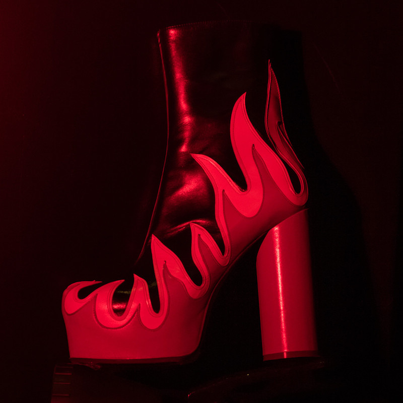 SSENSE Exclusive Vetements Black & Red Leather Flame Boots_1