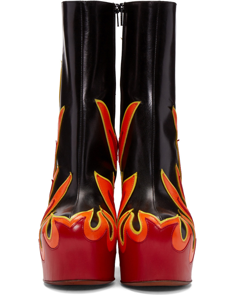 SSENSE Exclusive Vetements Black & Red Leather Flame Boots_4