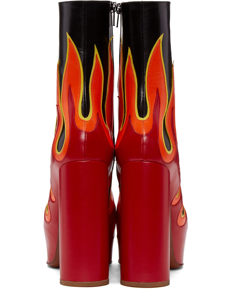 SSENSE Exclusive Vetements Black & Red Leather Flame Boots_6