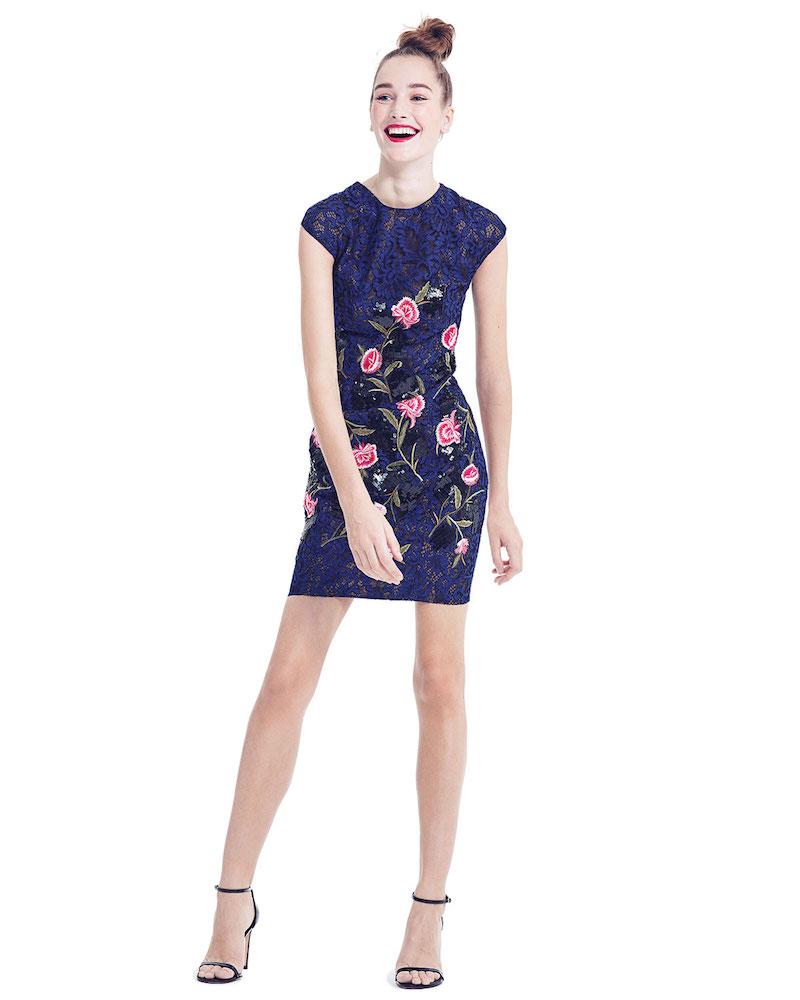 Sachin & Babi Noir Cap-Sleeve Mixed-Media Mini Dress