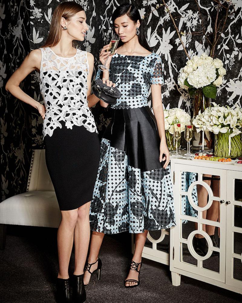 Sachin & Babi Noir Floral Imago Two-Tone Pleated Skirt