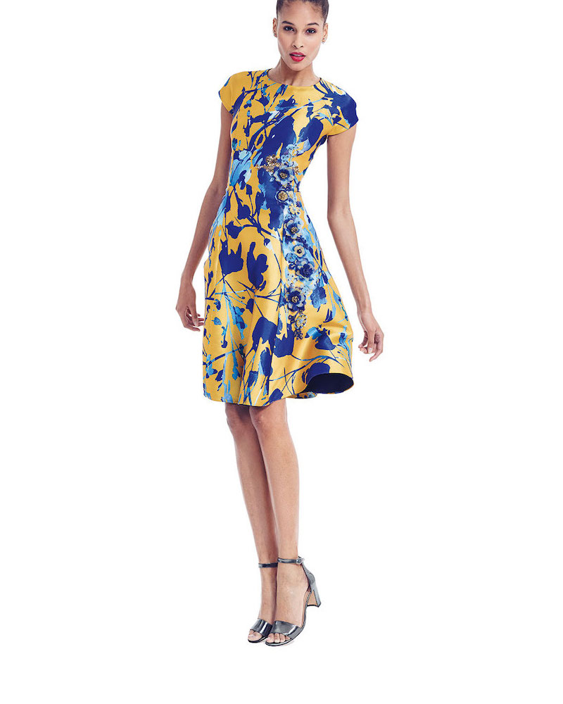 Sachin & Babi Noir Short-Sleeve Floral Jacquard Fit & Flare Dress