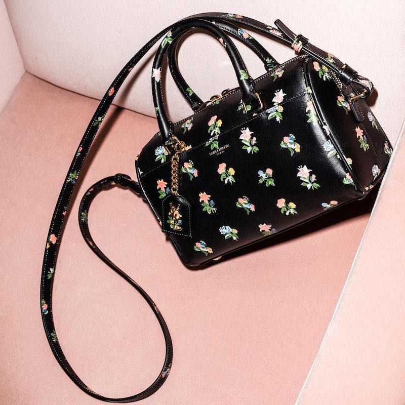 Saint Laurent Baby Grunge Flower Print Duffle Bag
