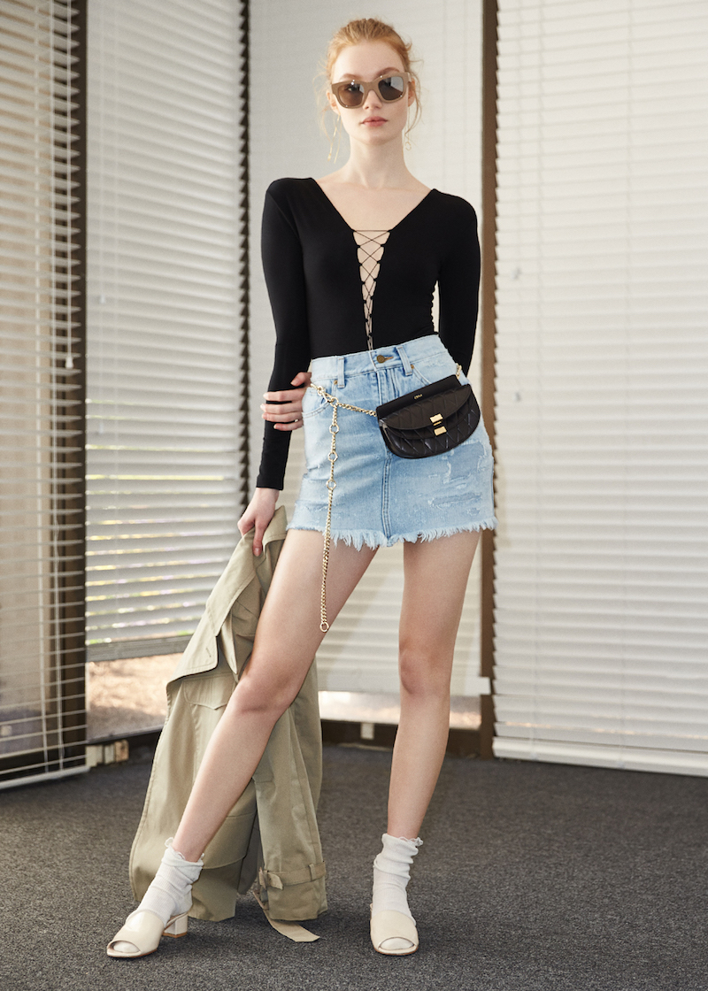 Saint Laurent Repaired Denim Mini Skirt