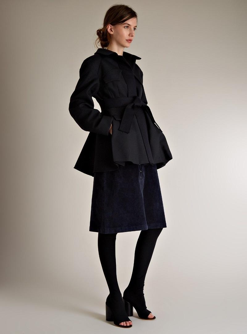 Sea Lace-up corduroy skirt