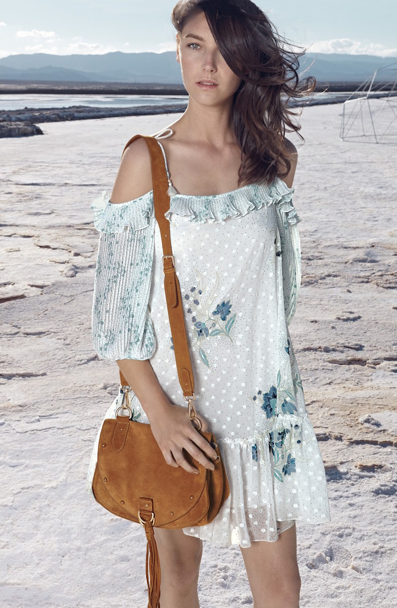See by Chloé Off the Shoulder Floral Print Georgette Dress