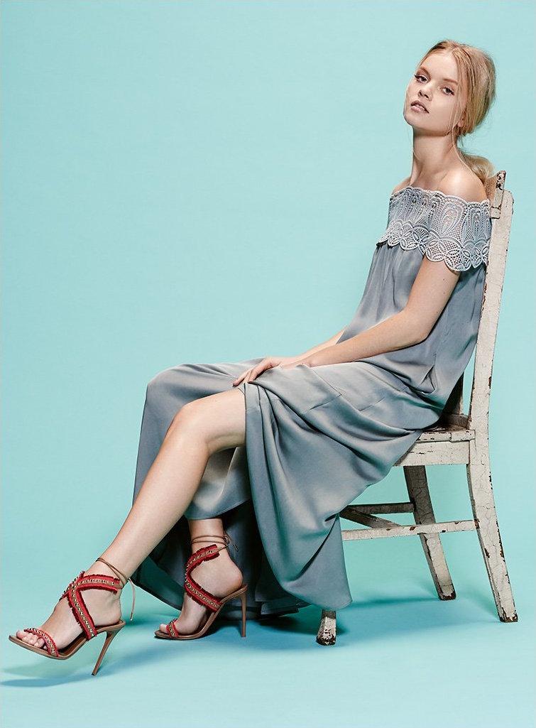 Self Portrait Lace Shoulder Maxi Dress