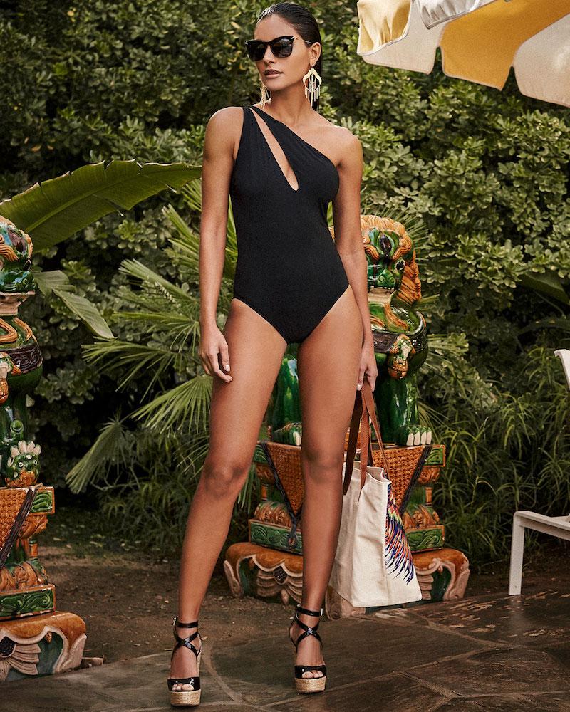 Shan One-Shoulder Slash Solid One-Piece Swimsuit