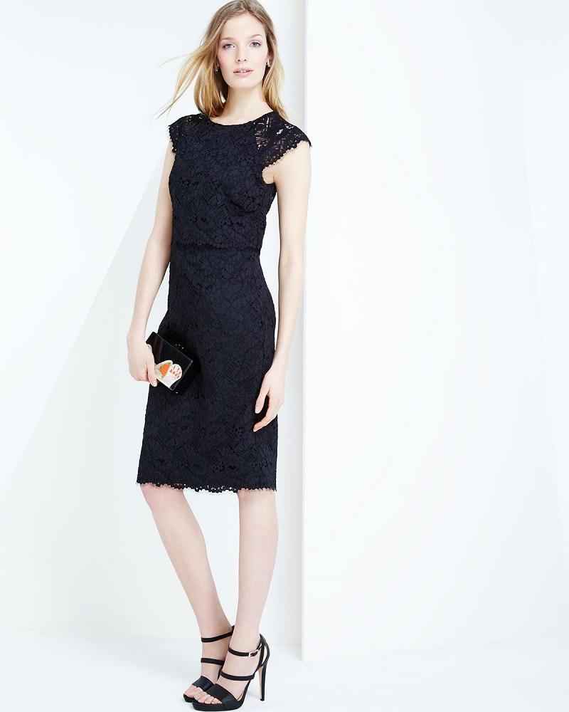 Shoshanna Cap-Sleeve Popover Lace Dress