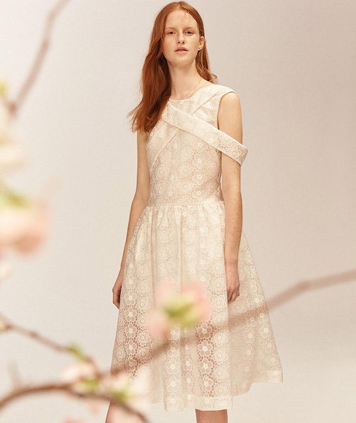 Simone Rocha Bonded Lace Fit & Flare Dress