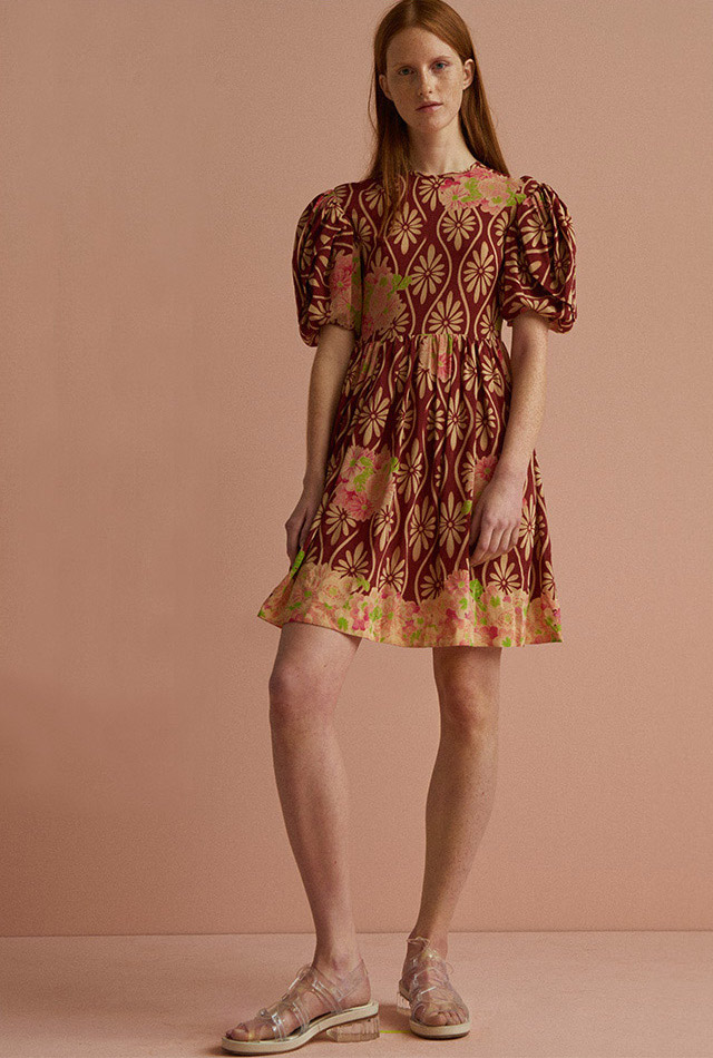 Simone Rocha Floral Print Puff Sleeve Silk Dress_1