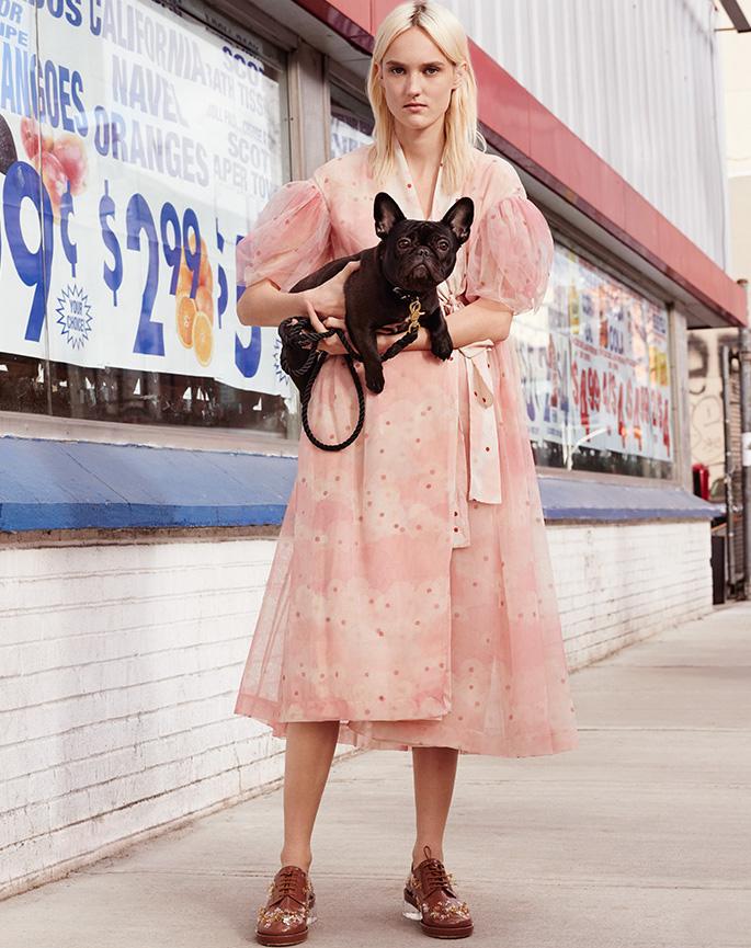 Simone Rocha Print Silk & Tulle Kimono Wrap Dress