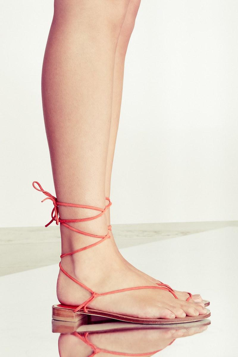 Stuart Weitzman Nieta Lace-Up Flat Sandal