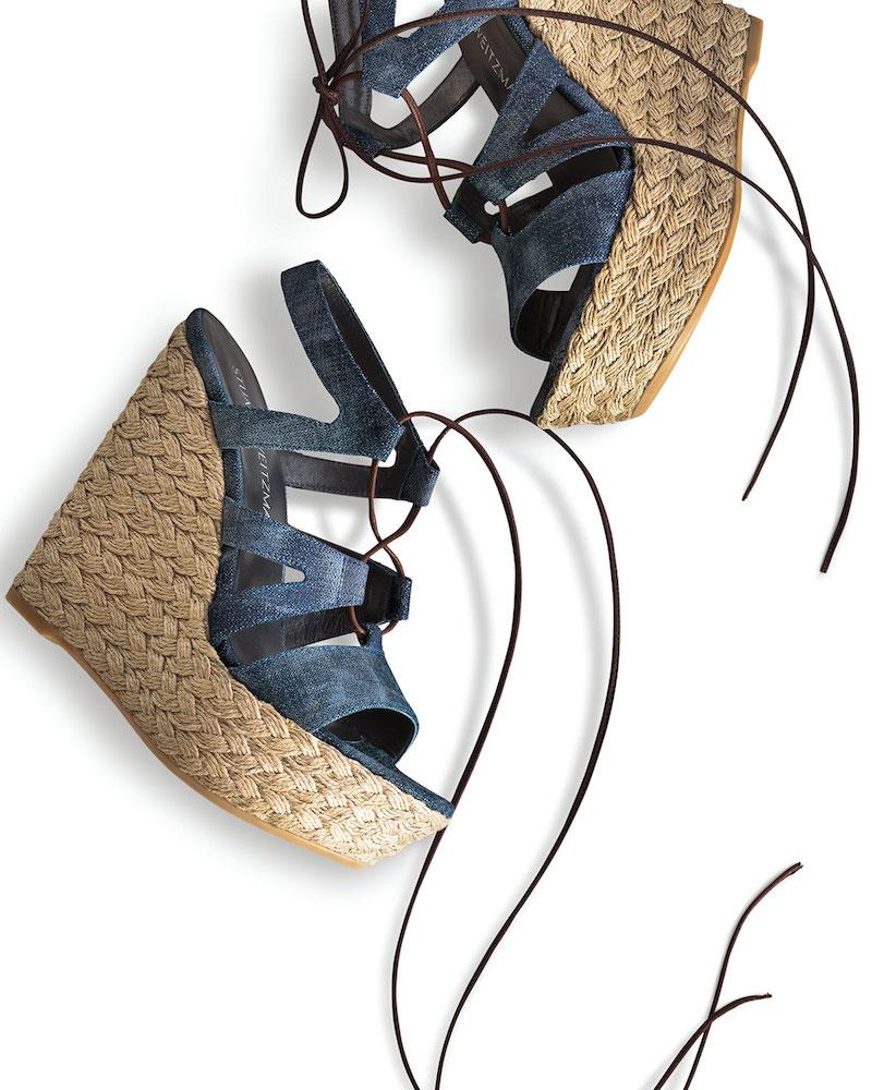 Stuart Weitzman Tie Girl Bingo Denim Platform Sandal