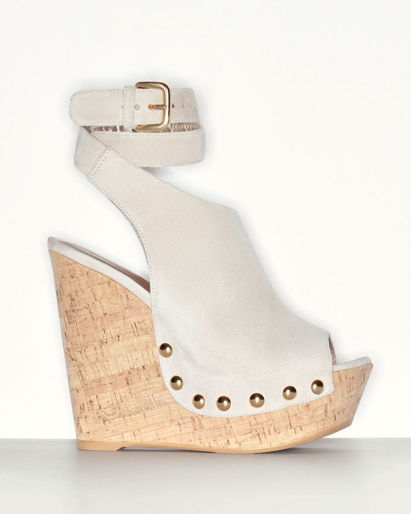 Stuart Weitzman Wrap Up Suede Wedge Sandal
