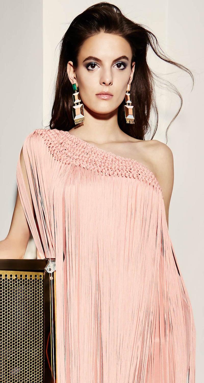 Temperley London Damara One-Shouldered Maxi Dress with Silk Fringing