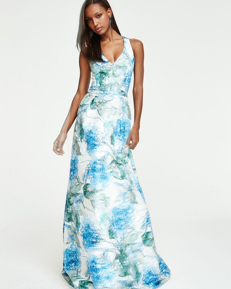 Theia Sleeveless Floral-Print Ball Gown