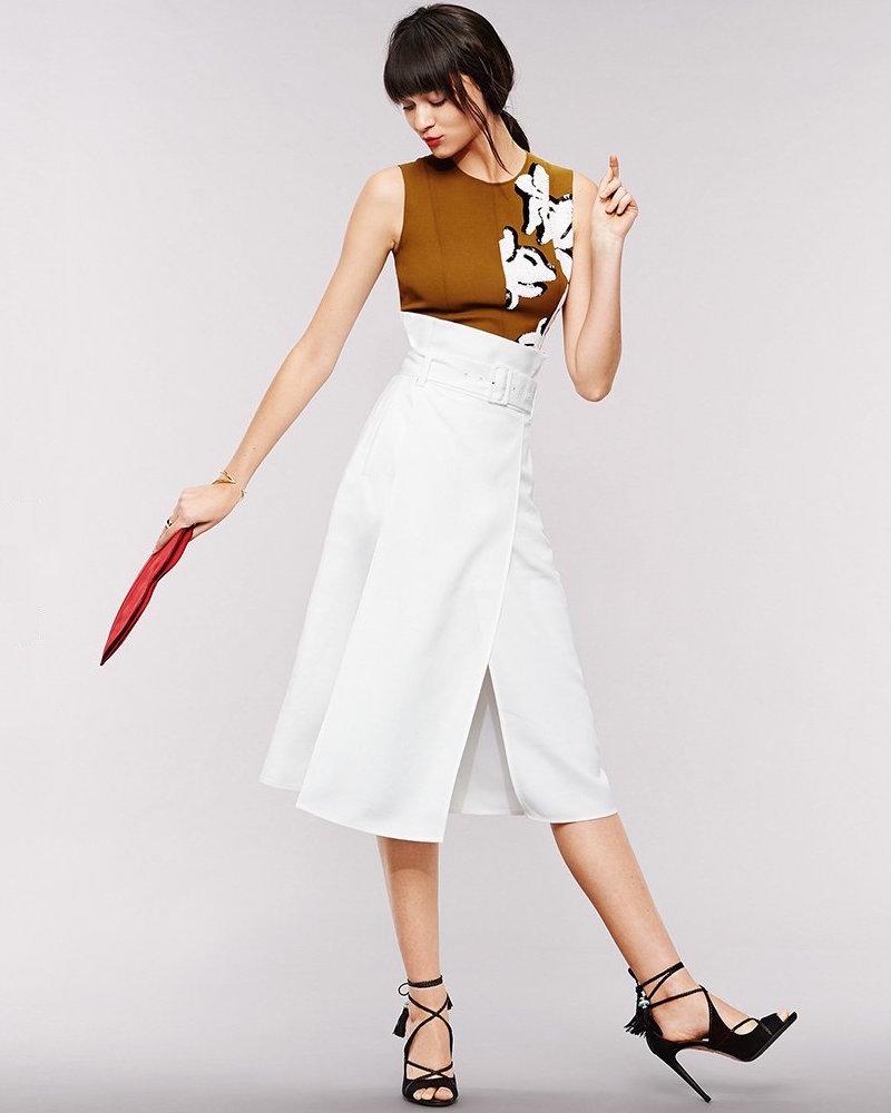 Tibi Drape Twill Skirt