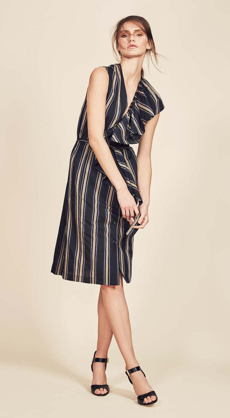 Tome Silk Cotton V-neck Dress With Ruffle
