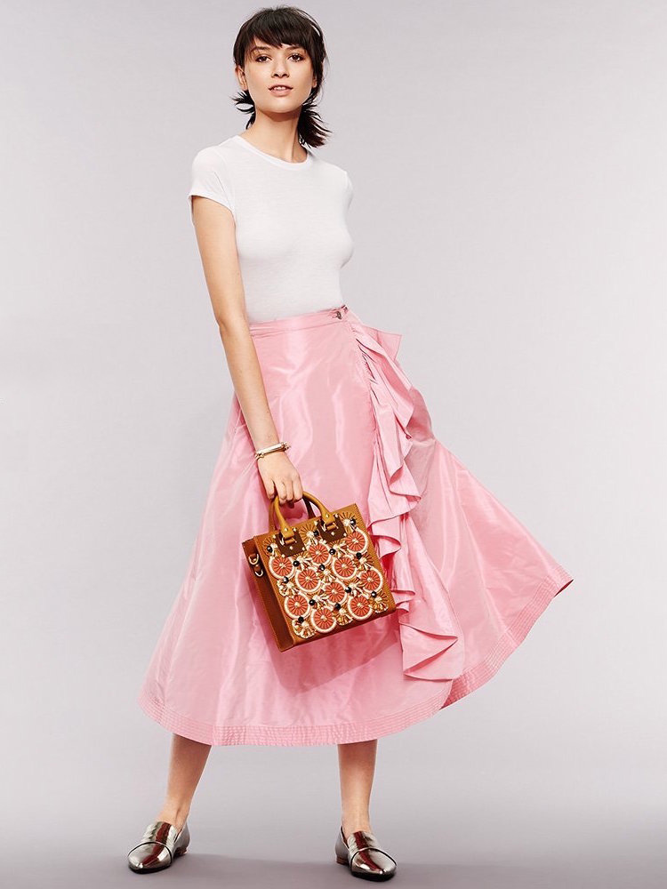 Tome Taffeta A Line Skirt with Ruffle