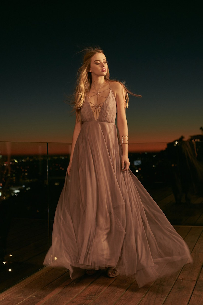 Topshop Lace-Up Tulle Maxi Dress
