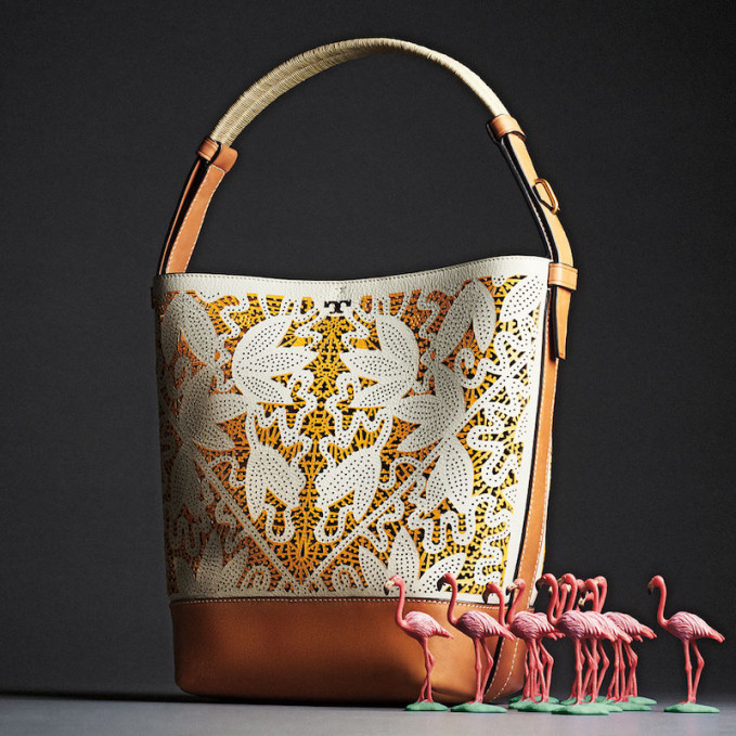 Tory Burch Floral Laser-Cut Bucket Tote Bag