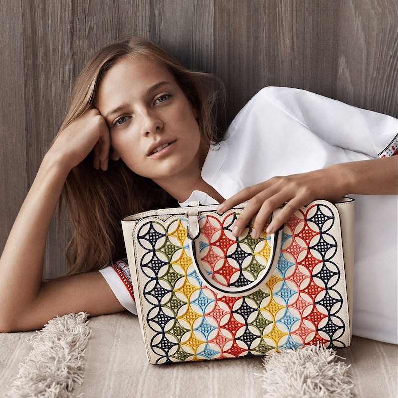 Tory Burch Robinson Embroidered Small Zip Tote