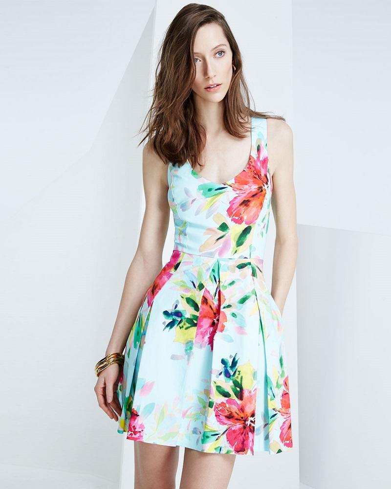 Trina Turk Floral-Print Fit-&-Flare Dress