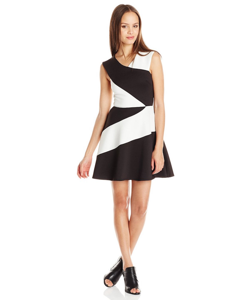 Trixxi Juniors' Black White Scuba Skater Dress
