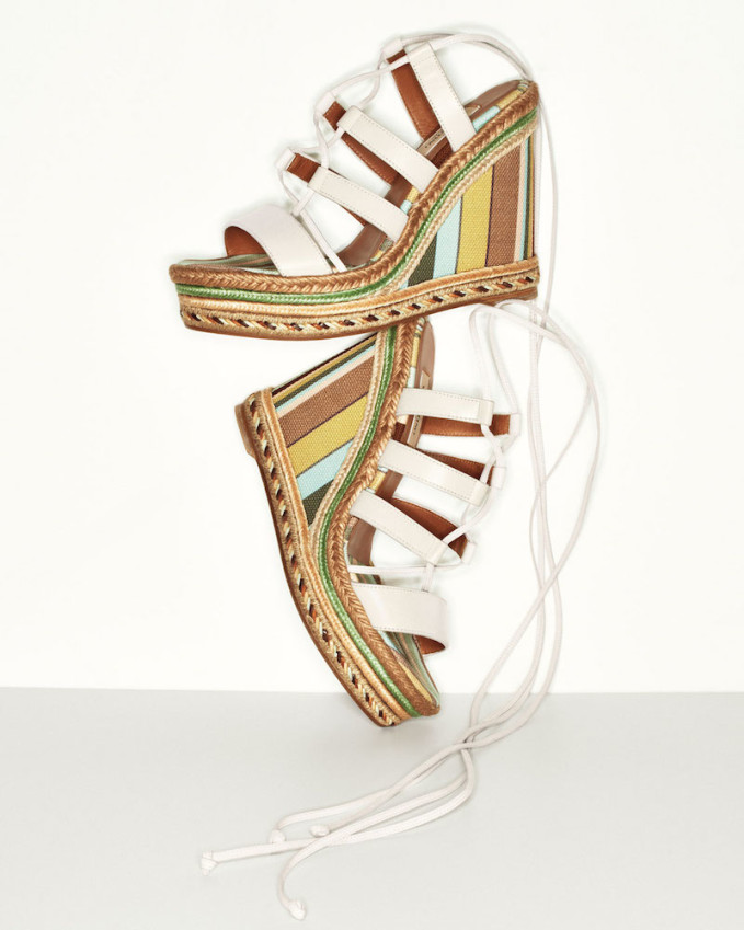 Valentino Leather Lace-Up Espadrille Sandal