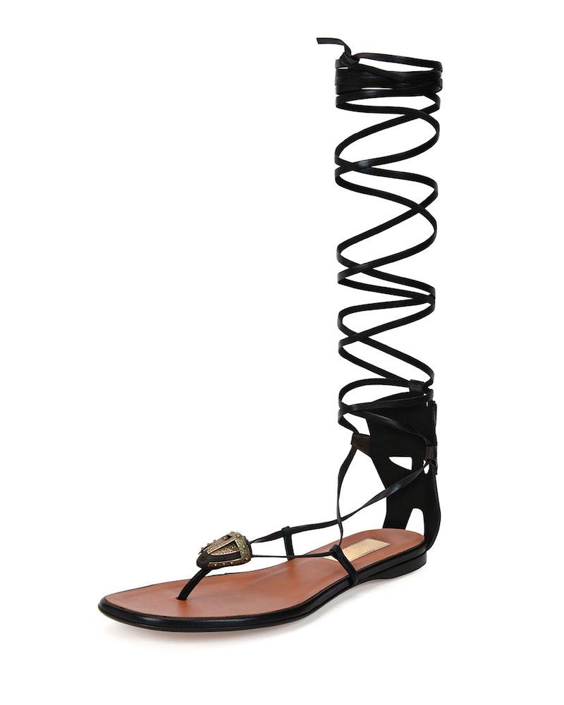 Valentino Mask-Detail Flat Lace-Up Sandal