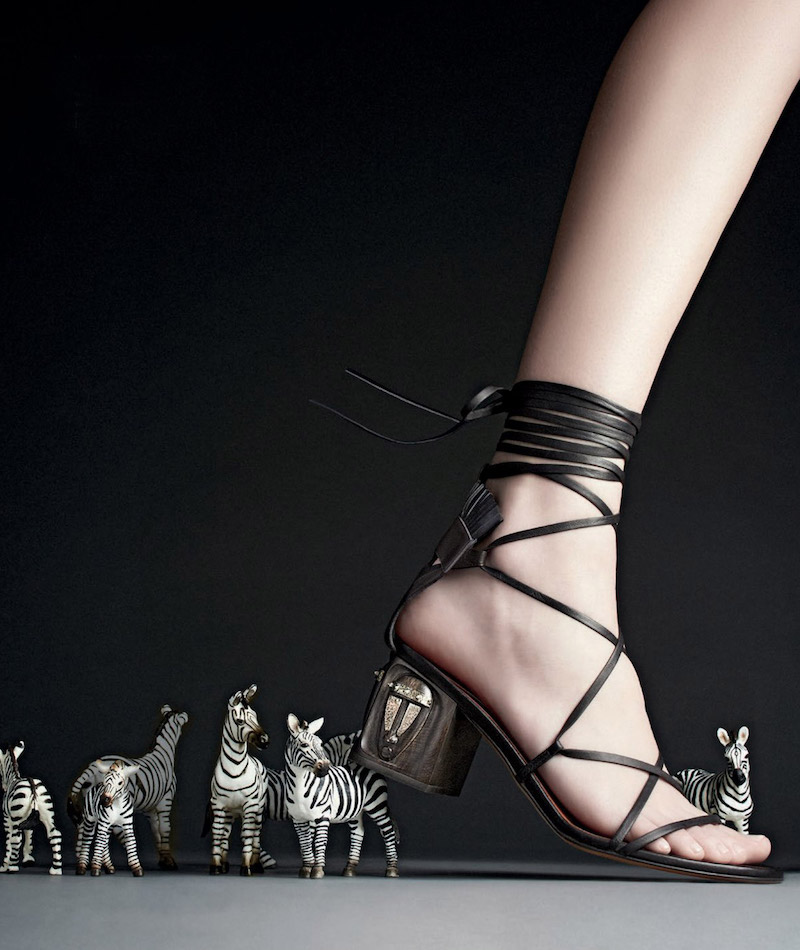 Valentino Mask-Heel Lace-Up Leather Sandal